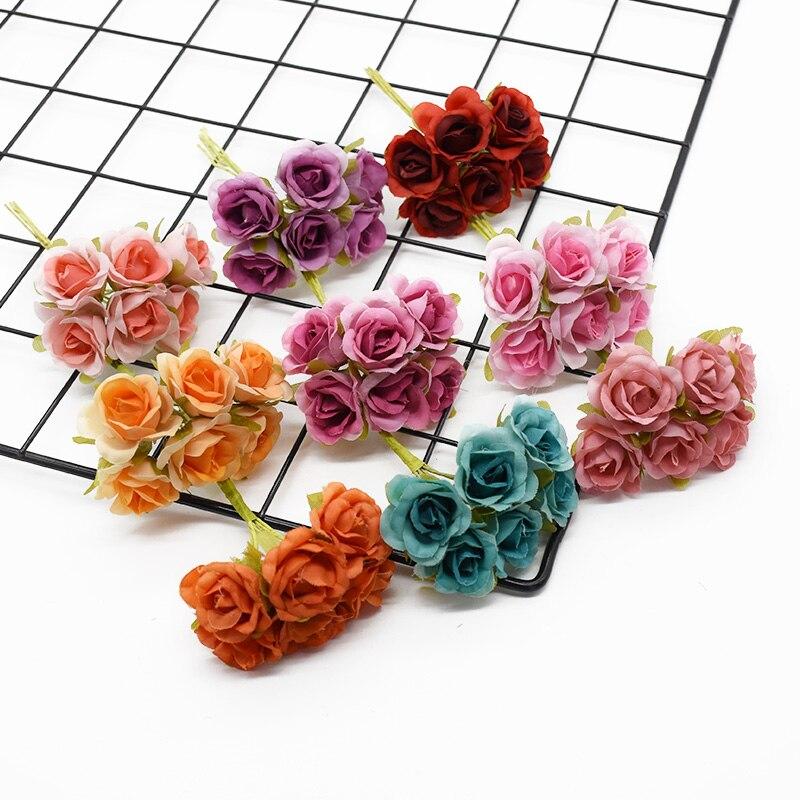 6 unidades de ramos artificiales, accesorios de decoración del hogar, regalos de decoración de boda, arreglo de flores, flores secas de belleza para interiores