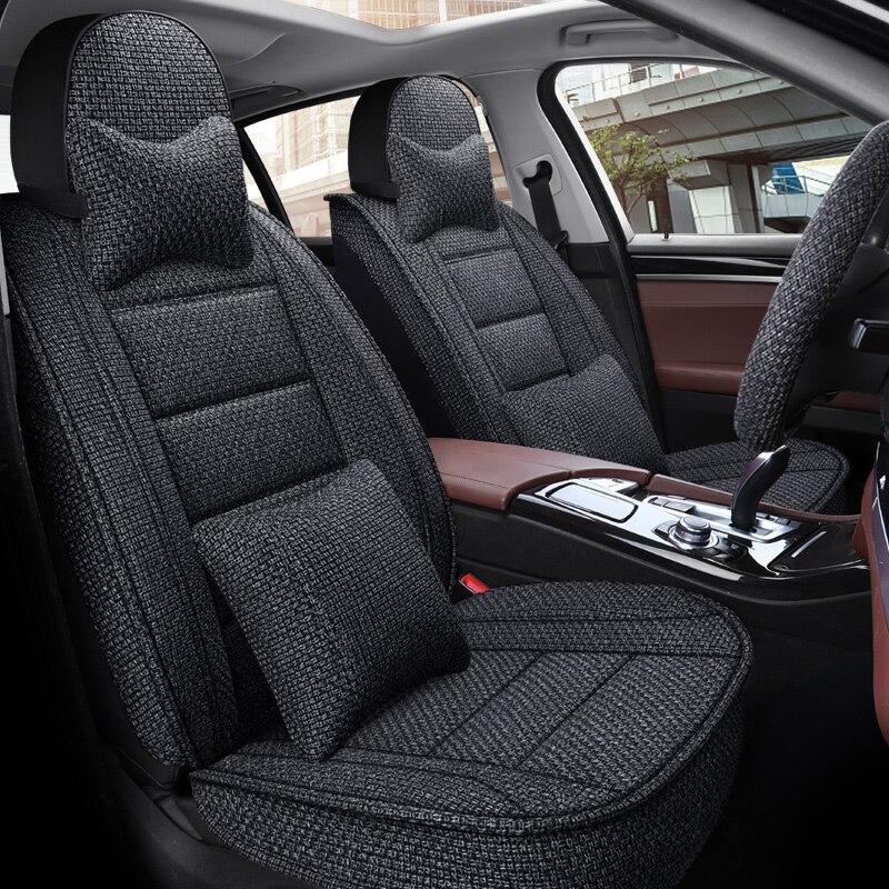 Fundas de asientos de coche de fibra de lino de cobertura completa para Kia Morning picanto cerato soul seed optima stinger k9 k900quoris