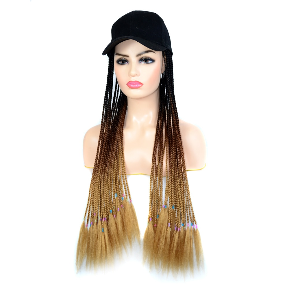 Jeedou-شعر مستعار صناعي طويل للنساء ، قبعة بيسبول ، قبعة سوداء ، ضفائر ملتوية