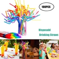 100pcs multicolor straws plastic long flexible drinking straws for party weddings drinking bar juice striped drinking straw d20