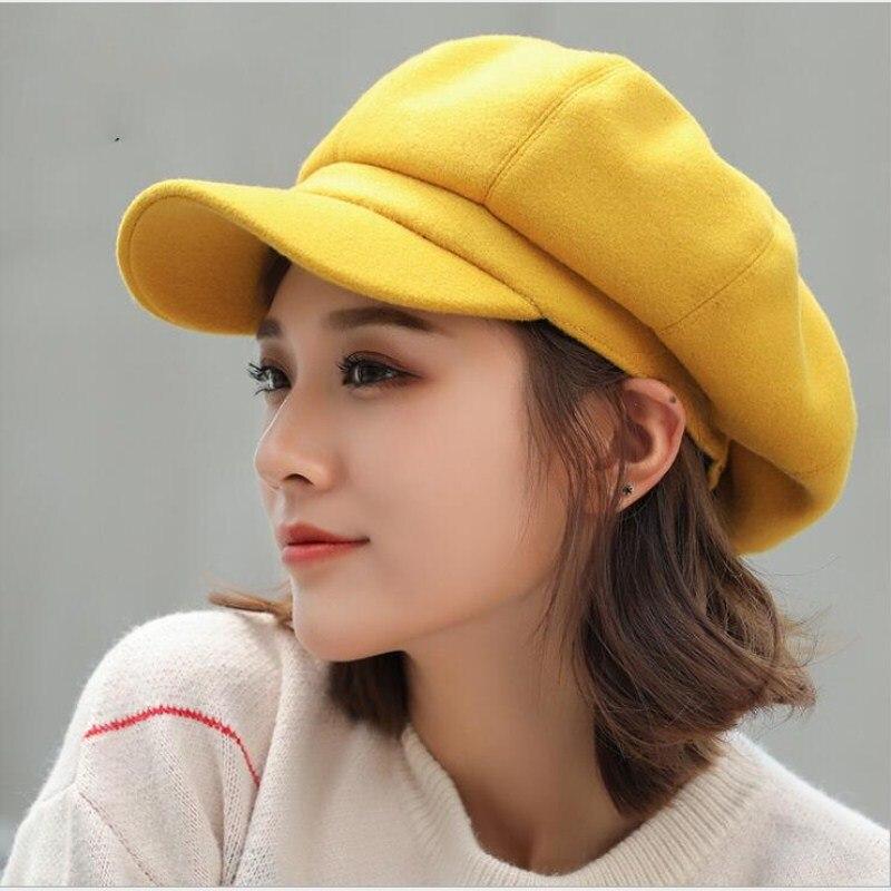 Autumn Winter Hats for Women Solid Plain Octagonal Newsboy Cap Men Ladies Casual Wool Hat Winter Ber