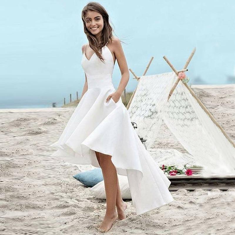 Beach White Hi Low Wedding Dresses Front Short Long Back Backless Summer Dress Wedding Gowns Bride Dresses Vestido De Noiva