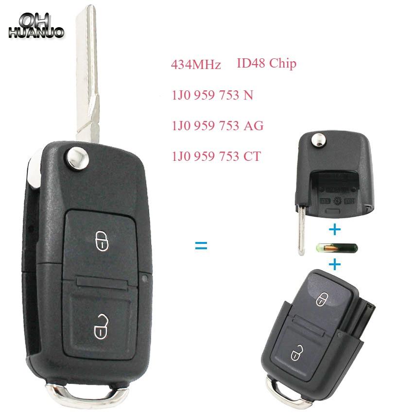 Clé à distance à 2 boutons   434MHz avec puce ID48 2002 à 2005 pour Passta 1J0 959 N/1J0 753 AG/1J0 959 753CT