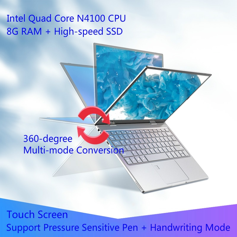 Get 11.6 Inch Touch Screen Laptop 8GB DDR4 Rotation Notebook N4100 360° Flip Ultra Thin Yoga Netbook Type-C Computer Quick Charge