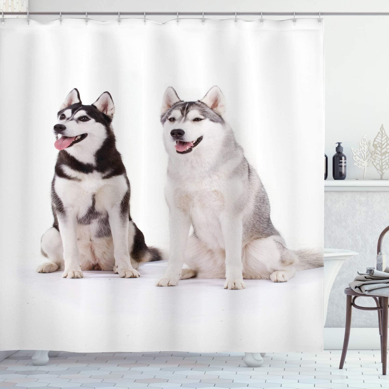 Cortina de ducha con diseño de Alaskan Malamute para mascotas, visillo de...