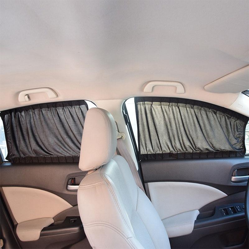 2 x 50L Estensibile Guida In Alluminio Auto Finestra Laterale Parasole Tenda Auto Window Parasole Con Cavo Elastico-Nero/Beige/Grigio