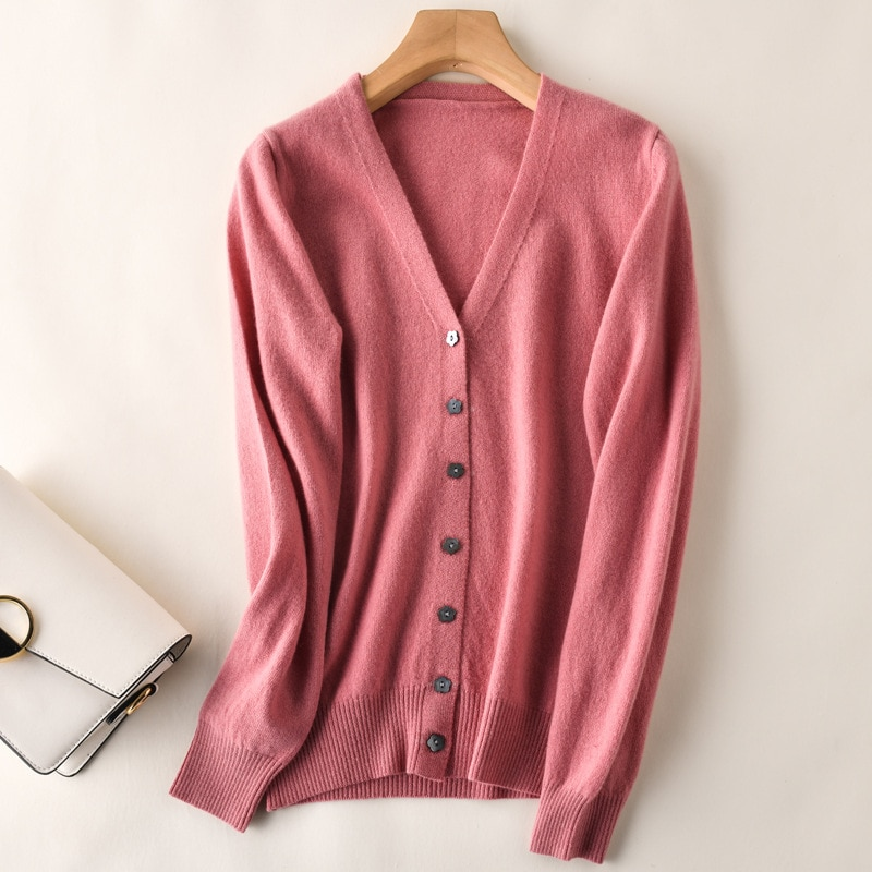 Autumn and winter new style knitted cardigan women's V-neck woolen sweater with short Korean sweater women's long-sleeved jacket enlarge