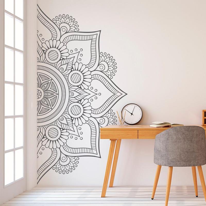 Bohemian Wall Decal Half Mandala Headboard Decals Bedroom Yoga Studio Meditation Room Home Decor Window Art Vinyl Stickers E705