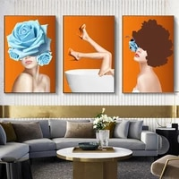 nordic sexy in the bathtub ballet women pictures 3 piece canvas painting oil paintingwall art poster in livinroom home decor