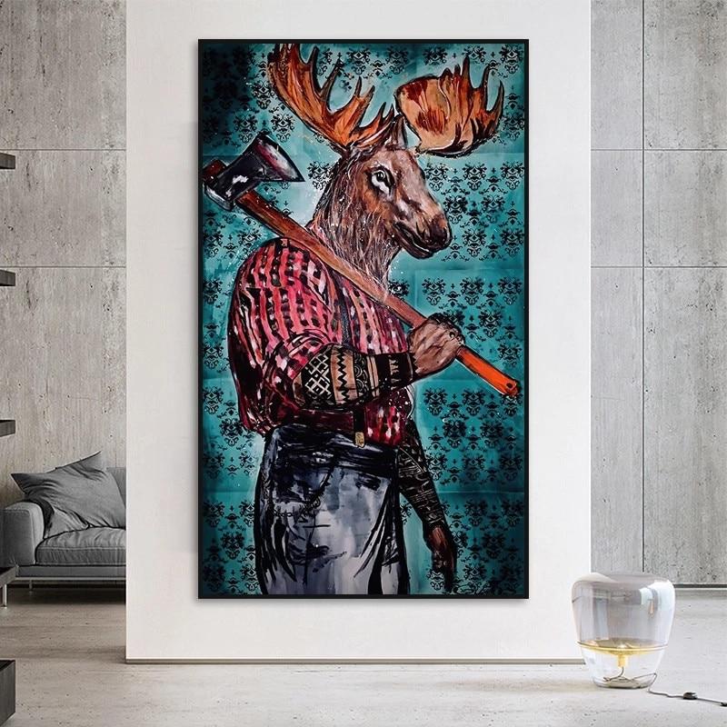 Абстрактная животная масляная живопись Лось человек переносящий топор холст постеры Куадрос олень человек печать настенное искусство кар...