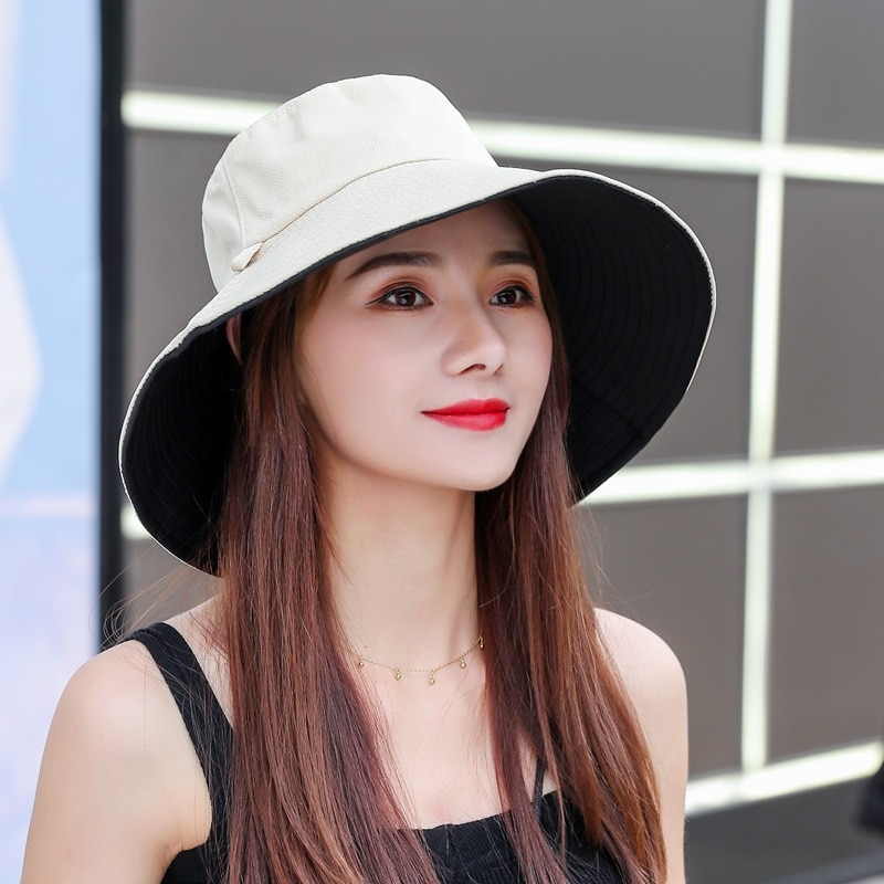 Sun Hat Summer Foldable Bucket for women  Outdoor Sunscreen Cotton Fishing Hunting Cap Anti-UV wide brim bucket hat