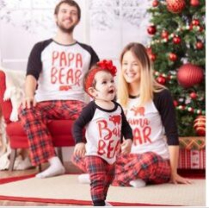 Christmas parent-child set printed home wear pajamas two-piece suit cotton ladies pajamas children's clothing happy new year enlarge