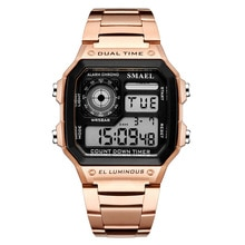 SMAEL Watches Men Led Digital Watches Men Waterproof Sports Watches Luxury Rose Gold Mens Watches Re