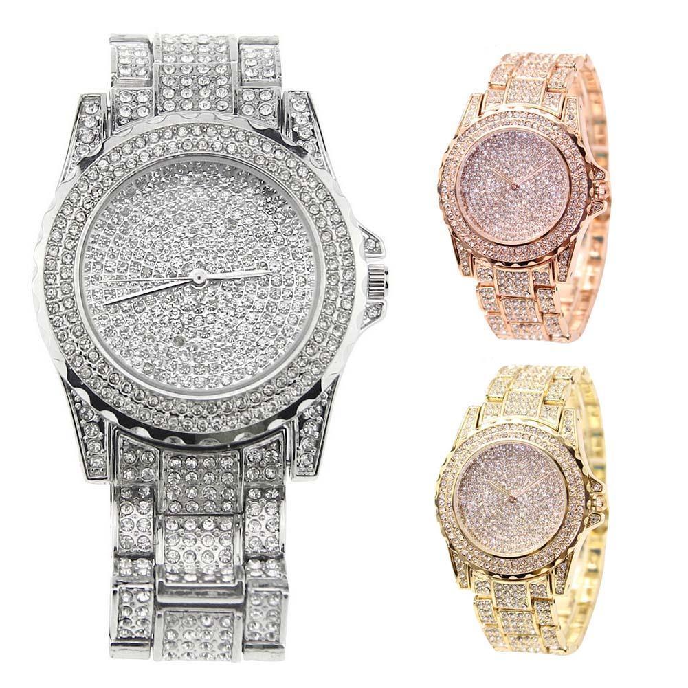 Модные часы, женские роскошные круглые кварцевые часы, наручные часы для женщин, блестящие золотистые серебряные часы, наручные часы для же...