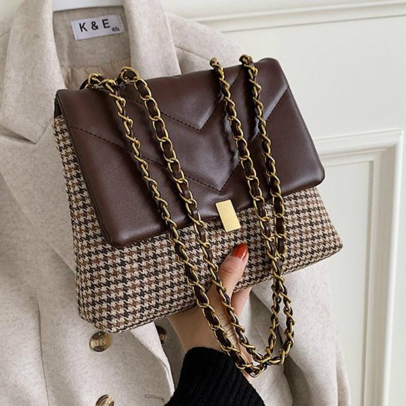 Houndstooth V-line Crossbody Bag for Women 2021 Fashion Sac A Main Female Shoulder Bag Female Handbags and Purses