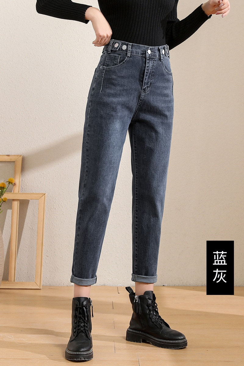 Spot Dad Jeans Women's Autumn and Winter 2021 High Waist Straight Slimming Loose Tappered Pants