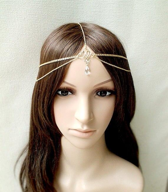 3 estilos de decoración para el cabello diademas de vestido de cabeza de moda indio boho gota de agua simulada perla mujeres cabeza cadena joyería para el cabello