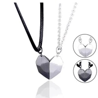 2pcs couple magnetic heart necklace for lover women yin yang pendant charm distance faceted valentines day jewelry gift