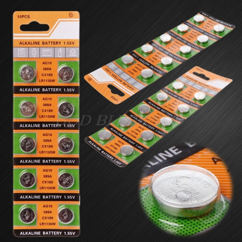 10PCS Button Coin Cell Battery AG10 1.5V Watch Batteries SR54 389 189 LR1130 SR1130 Toys Control Remote Drop Shipping