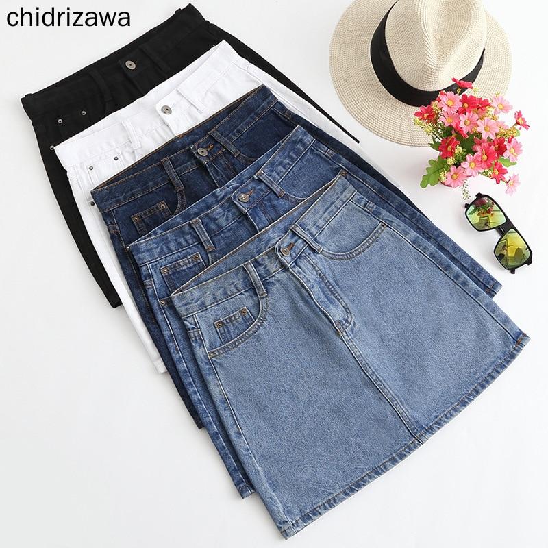 XS - 3XL New Women Sexy Denim Mini Skirt Fashion Summer High Waist Skirt Black Blue Package Hip Jeans Harajuku Plus Size Cotton