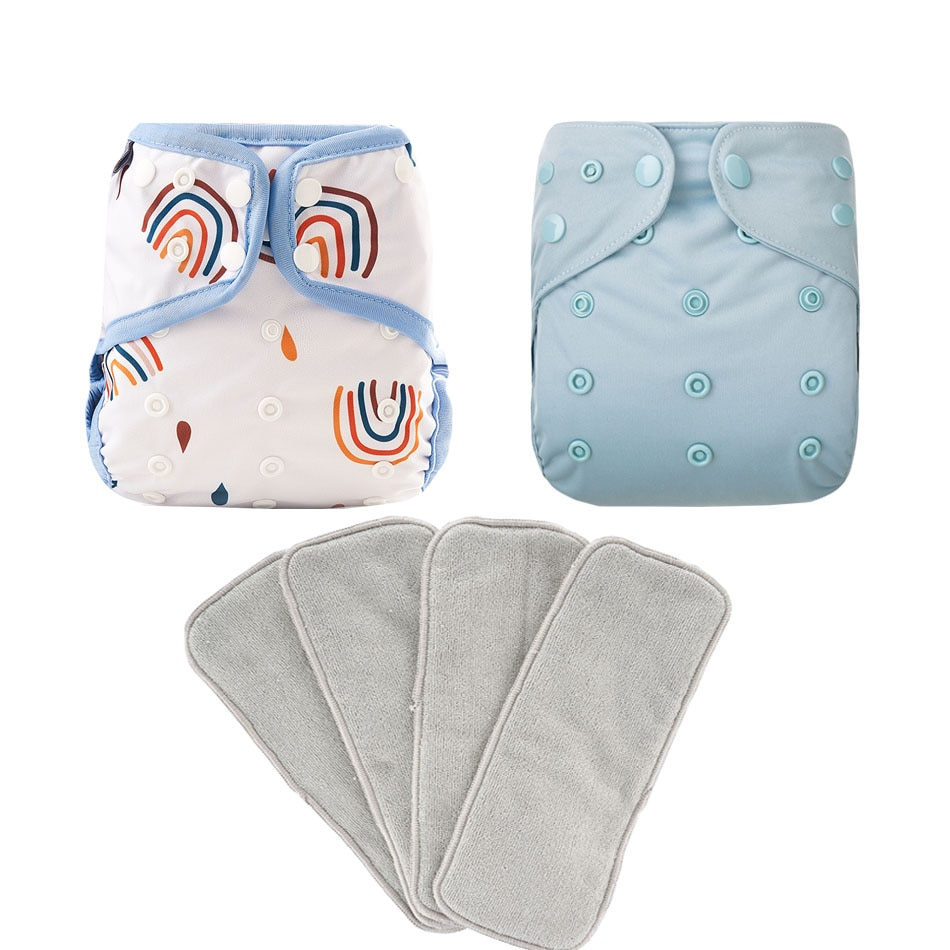 Elinfant 2pcs Diapers Cover Waterproof Washable Reusable Baby Cloth Diapers With 4pcs Gray Microfiber Inserts