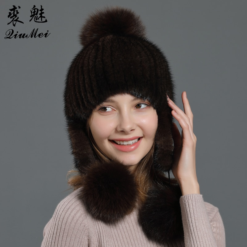 Gorro de piel de visón auténtica con orejeras negro marrón blanco sólido Color lindo 3 pompón mujeres sombreros forrado Natural piel de zorro Beanie gorras de mujer