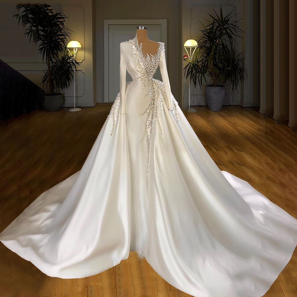 luxury long tail satin red bling ball gown wedding dresses newest sexy designer bridal wedding gowns with sleeves Satin Beaded Pearls Wedding Dresses With Detachable Skirt Long Sleeves Beading Bridal Gowns Wedding Gowns