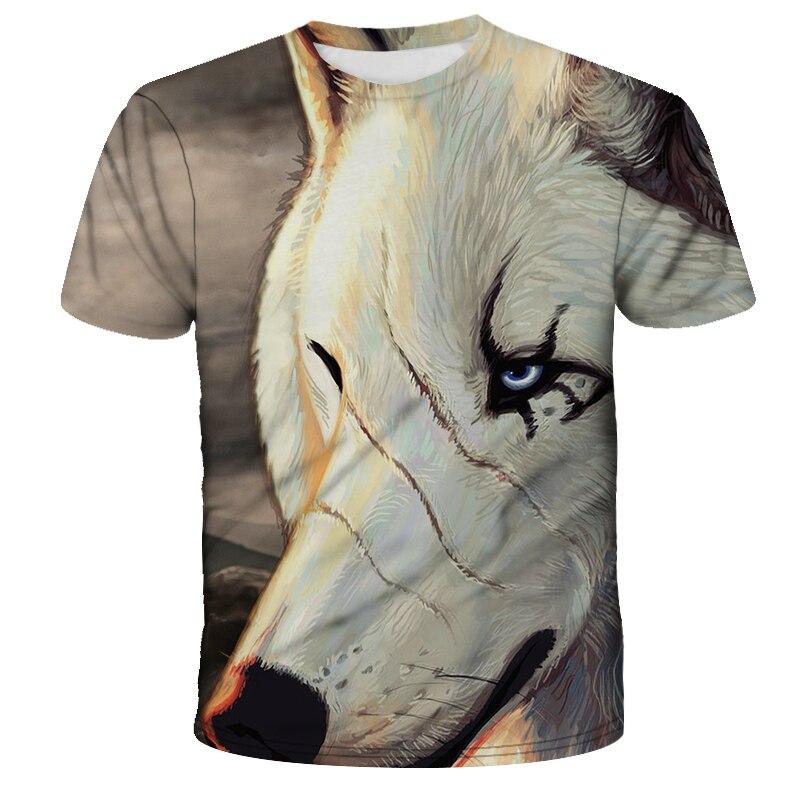 Lo más nuevo de 2020 camiseta divertida fresca con estampado de lobo 3D para hombre, camiseta de verano de manga corta, camiseta para hombre, camiseta de moda masculina 6XL