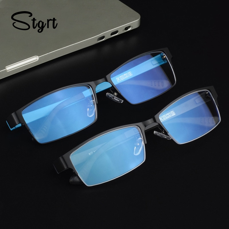 Stgrt Men Prescription Reading Glasses With Gradient Lens Anti Blue Ray Uvb 400 Protection Progressi
