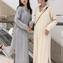 Décontracté femmes robe pull automne hiver vêtements chauds abricot gris Crochet robe tricotée côté fendu longues robes à capuche femme