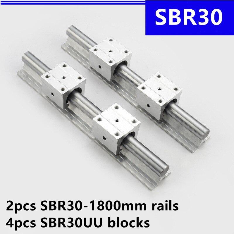 2 قطعة SBR30 -1800 مللي متر دليل خطي دعم السكك الحديدية و 4 قطعة SBR30UU الخطي تحمل كتل ل نك راوتر أجزاء