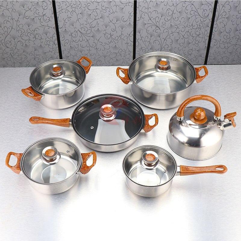 12 Teile/satz Kochgeschirr Set Mit Gold-Beschichtung Griff Und Knopf Capsulted Bottom Glas Deckel Lager Topf Anti-verbrühungen beschichteten Pfanne HWC