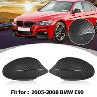 x autohaux pair exterior rear view mirror cover cap replacement car door side mirror cover caps for bmw e90 2005 2008 2009 2011