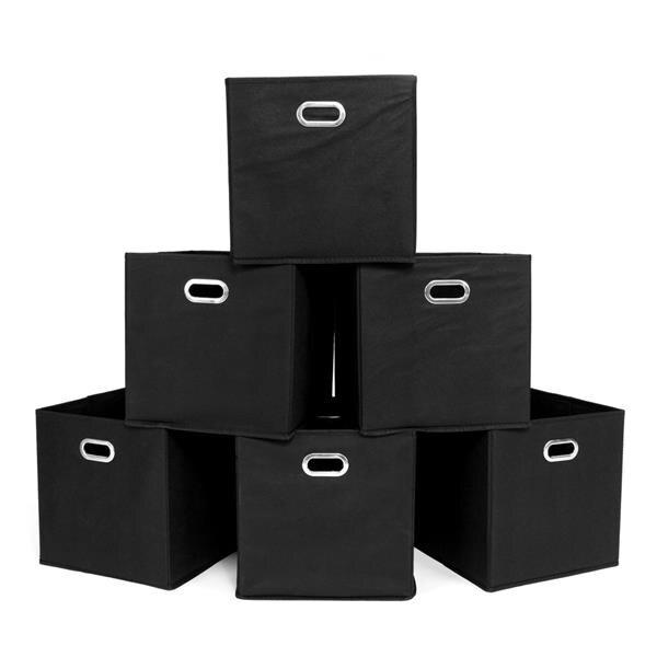 6 unids/set cubos de almacenamiento de tela plegable Conjunto de 6 cajas Cubo de almacenamiento con asas negras para oficina en casa organizador