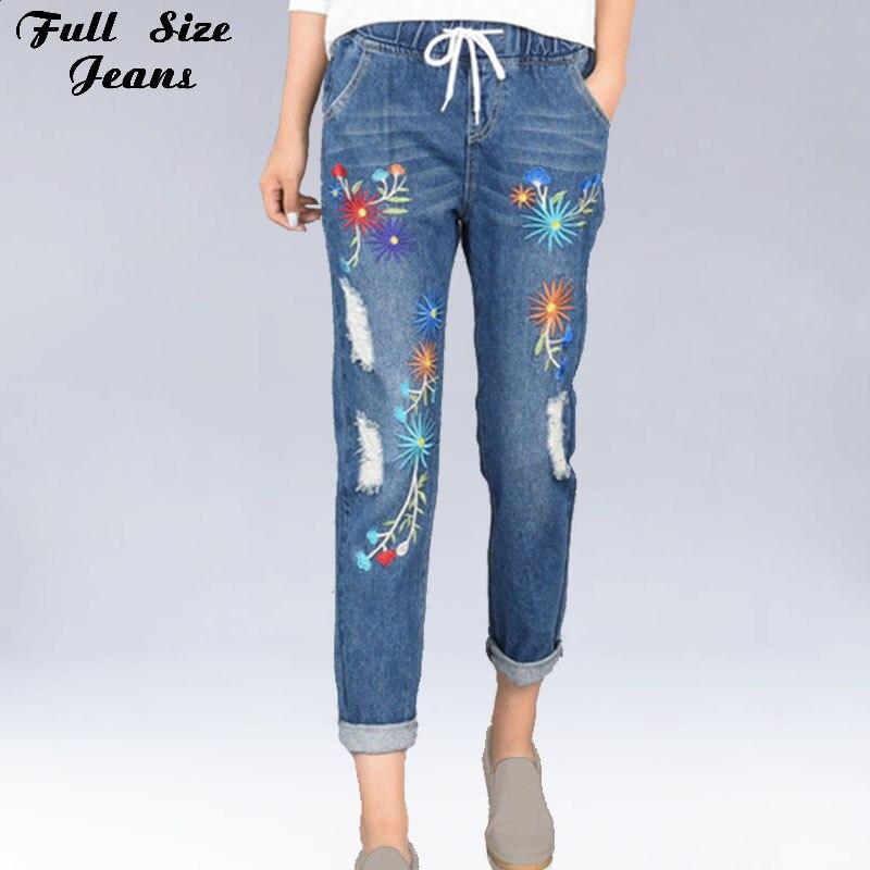 Женские свободные джинсы-шаровары большого размера плюс с вышивкой и дырками на эластичной талии, до щиколотки, 4Xl 5Xl Xs 6Xl