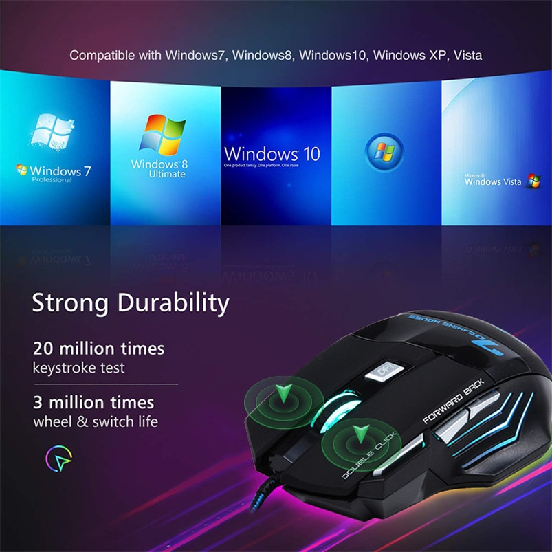 Gaming Mouse Computer Ergonomic Mouse Wired Game Mice 5500 DPI Silent Gamer Mouse Optical Backlight PC Mause 7 Button For Laptop
