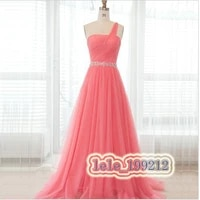 free shipping vestido de festa 2015 new long evening gown tulle prom dresses formal gown a line one shoulder crystal sashes