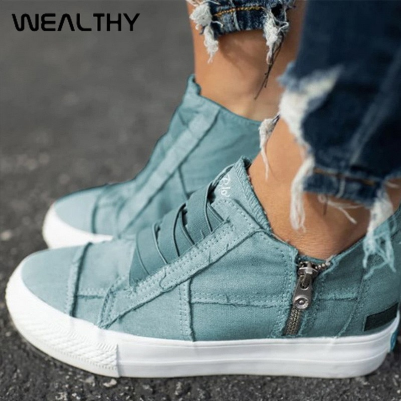 WEALTHY Women Casual Vulcanized Shoes Low-cut Zipper Flat Shoes Sneakers Comfy Canvas Shoes Walking Flats Trainers Zapatos