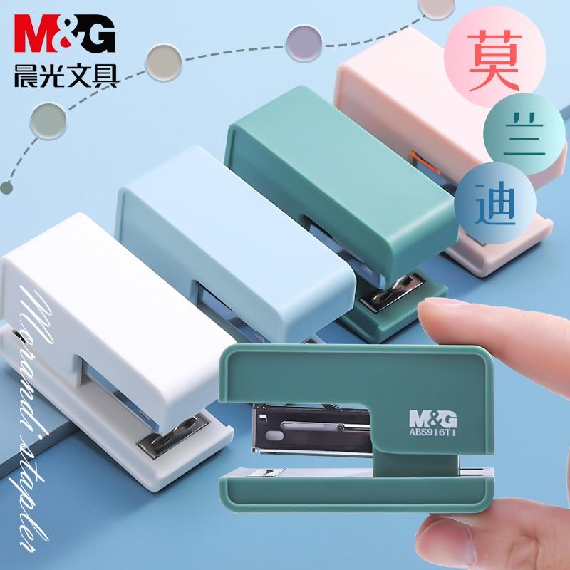 Цветной простой мини-степлер M & G Morandi, 24/6 #12 степлеров, бесплатные скобы, устройство для сшивания бумаги, Стандартный, для офиса и школы