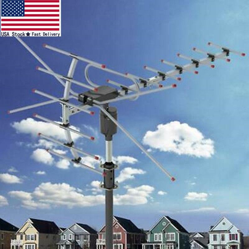 هوائي خارجي للتلفزيون الرقمي عالي الدقة ، مكبر 200 ميل ، 1080 بكسل ، VHF/UHF