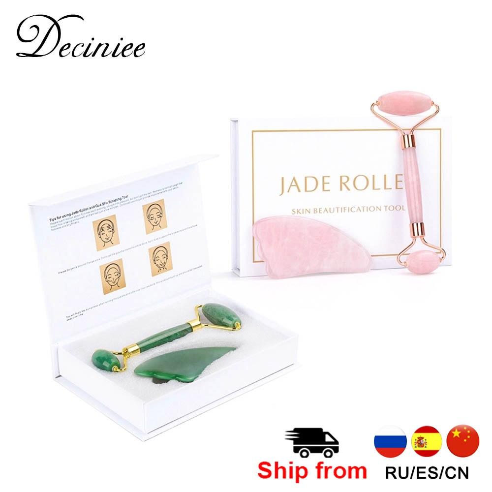 Crystal Roller Set Facial Massage Natural Jade Roller Gua Sha Set Jade Scraper Rose Quartz Stone Face Lift Massager Beauty Tool