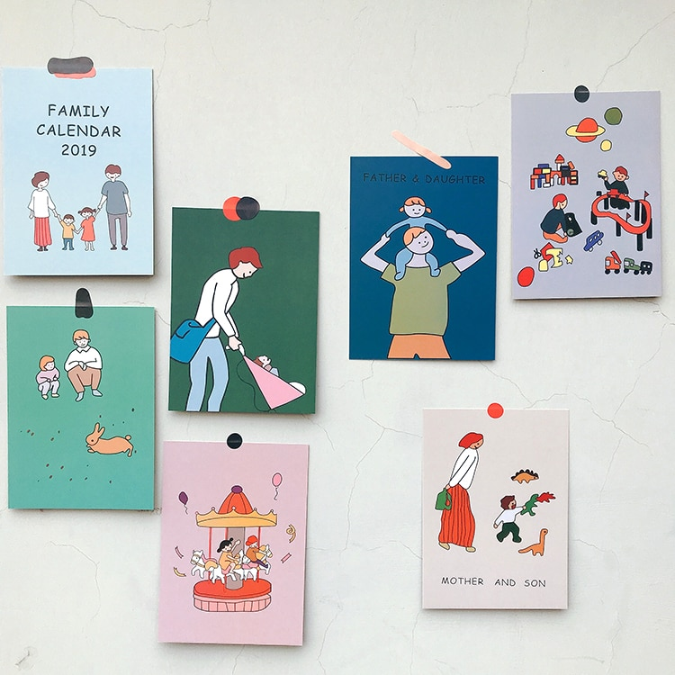 Корейские Мультяшные милые семейные открытки, 10 листов, двусторонние креативные декоративные открытки, плакаты, реквизит для фотографий, н...