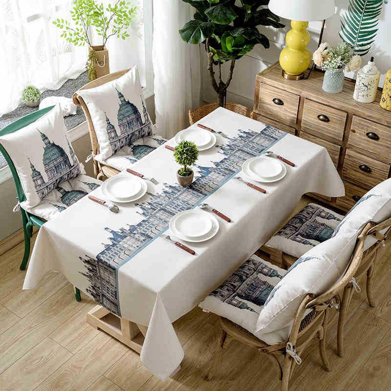 Mantel para mesa de centro de estilo británico Castillo impermeable con impresión Digital de algodón exclusivo a través de la frontera