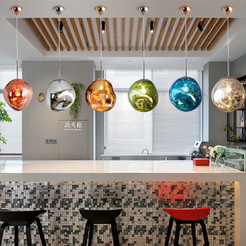 Lámpara colgante moderna de Color claro DIXON fundida Lava iluminación accesorios de iluminación Lustre de sala de estar colgante lámpara colgante accesorios de cocina
