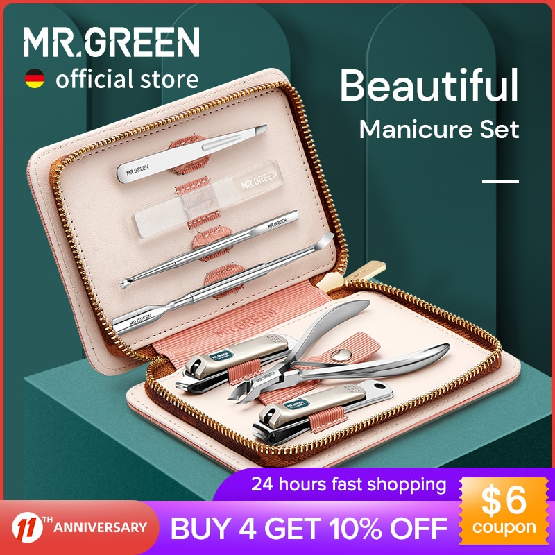 MR.GREEN Manicure Set Pedicure Sets Nail Clippers Tools Stainless Steel Professional Nail Scissors Cutter Travel Case Kit 7in1