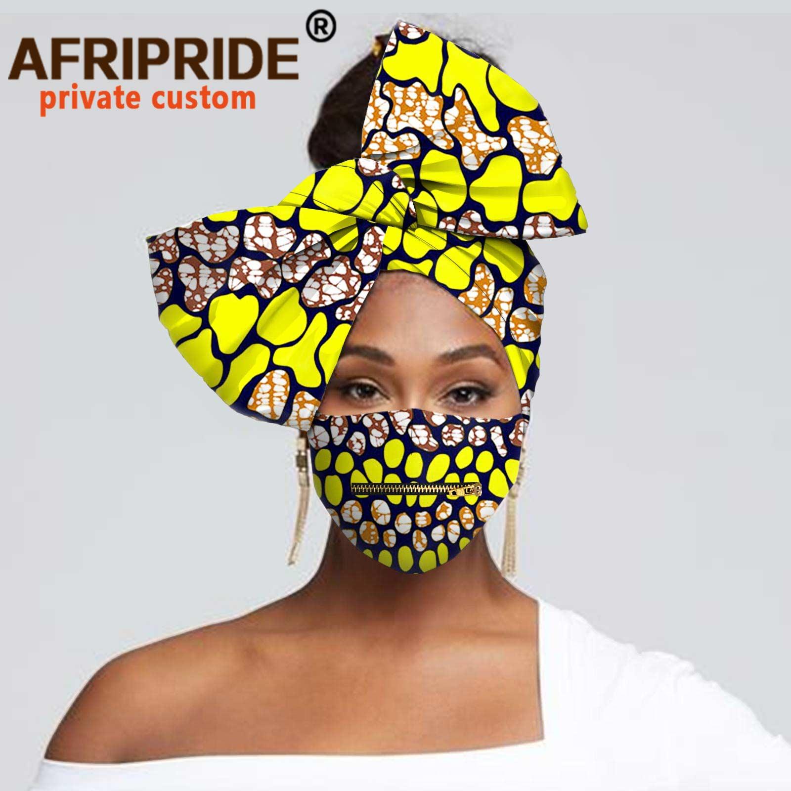 وشاح أفريقي نسائي ، عمامة زهور ، وشاح رأس ، إكسسوارات شعر ، قناع مطبوع مع سحاب A20H016