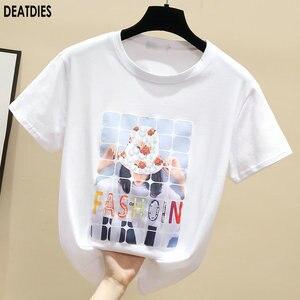 Fashion Print White Plus Size Beading Womens T-Shirt  Female Tee  Casual T Shirt Woman Black Kawaii T-shirts Clothing New 2020
