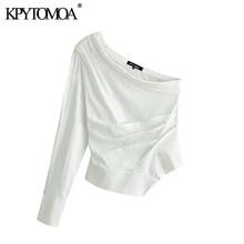 KPYTOMOA, blusas recortadas de un hombro a la moda para mujer, blusas Vintage asimétricas con cuello, camisetas de manga larga para mujer, blusas elegantes
