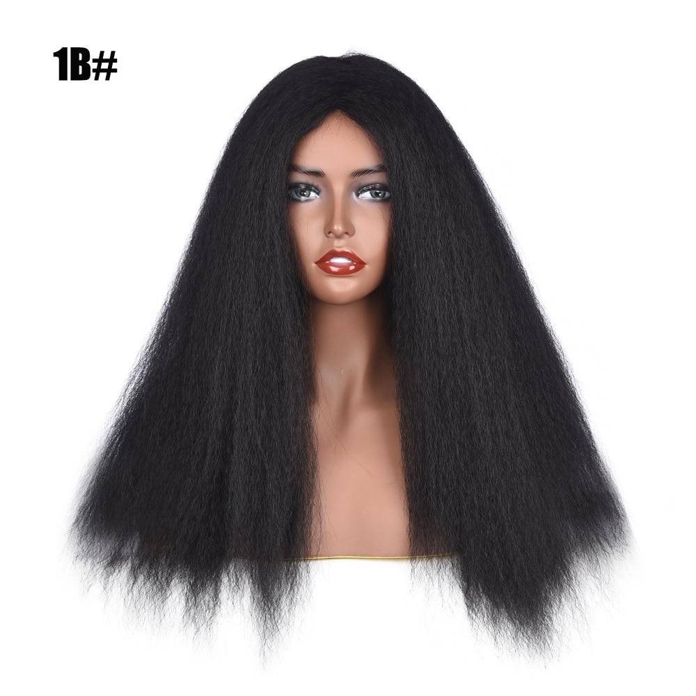 Pelucas largas de pelo liso Yaki para mujeres negras, pelucas sintéticas de fibra resistente al calor de 24 pulgadas