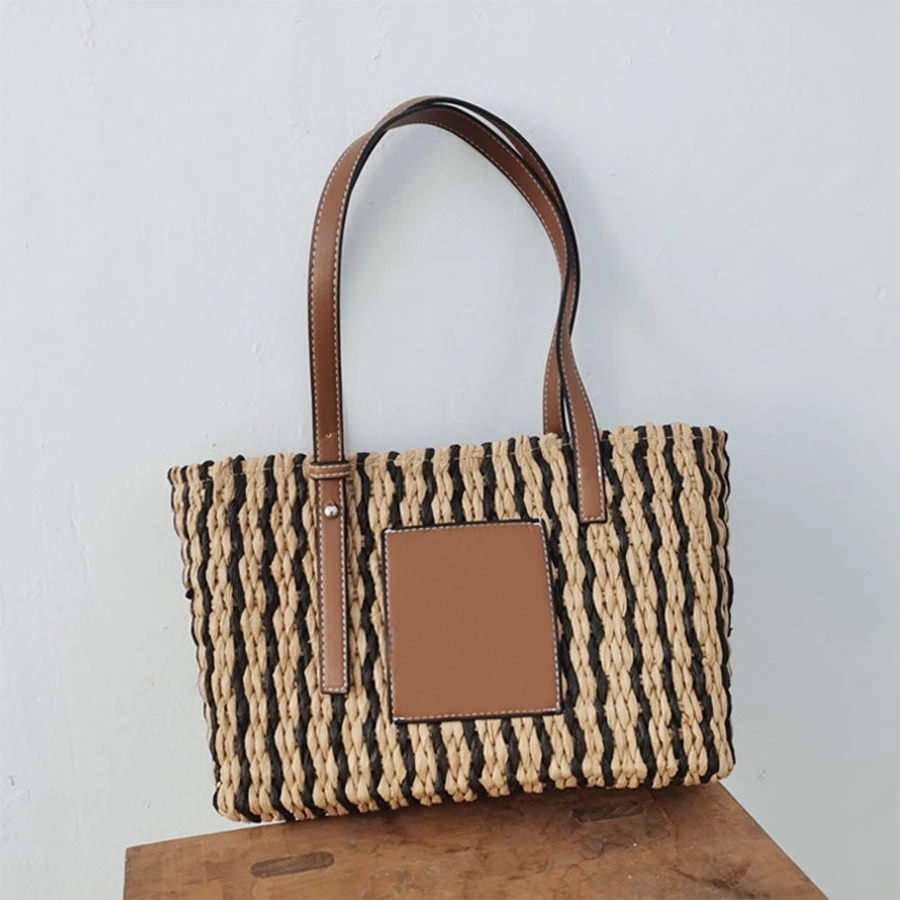 Summer Pu Leather Splice Straw Women Shoulder Bags Striped Hand-woven Handbags Large Paper Rope Woven Ladies Hand New